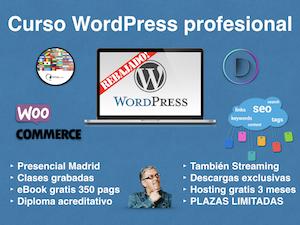 Curso WordPress profesional en Madrid certificado